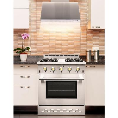 Entree Bundle 30 in. 4.5 cu.ft. Pro-Style Gas Range with Convection Oven and Range Hood in Stainless Steel and Gold