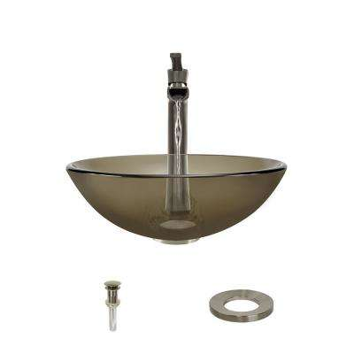 Glass Vessel Sink in Taupe with 731 Faucet and Pop-Up Drain in Brushed Nickel