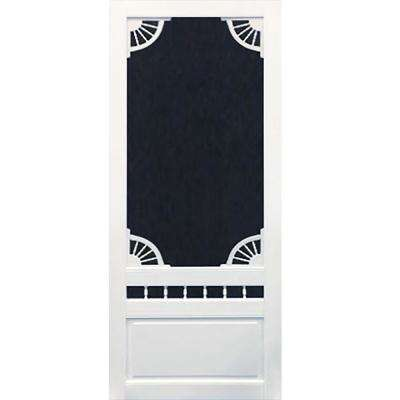 32 in. x 80 in. Dakota White Vinyl Screen Door