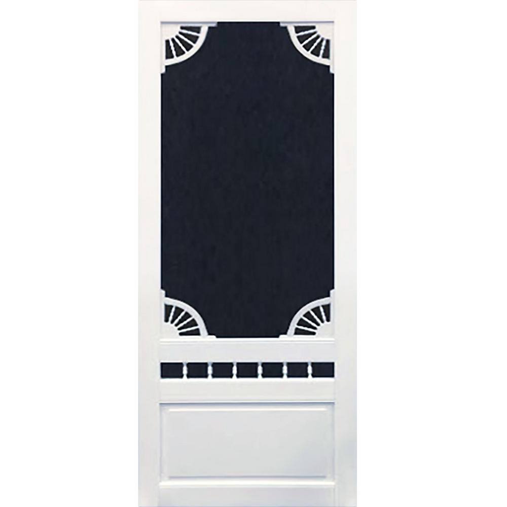 36 in. x 80 in. Dakota White Vinyl Screen Door