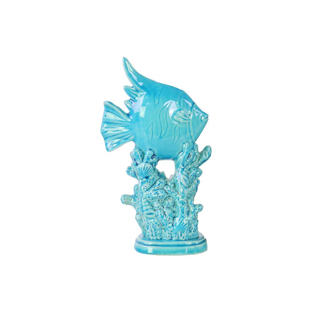 10.75 in. H Sculpture Decorative Sculpture in Blue Gloss