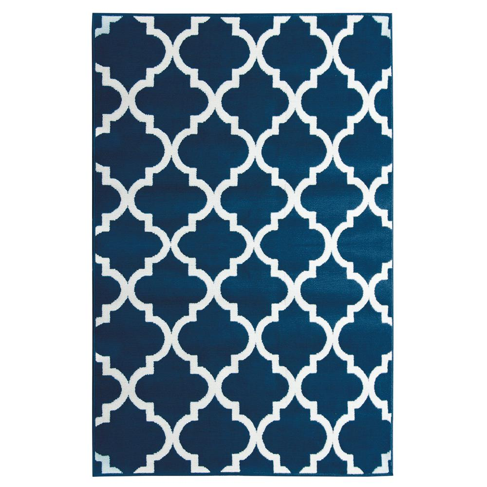 Trafficmaster Englewood Quatrefoil Navy Area Rug 5 Ft X 7