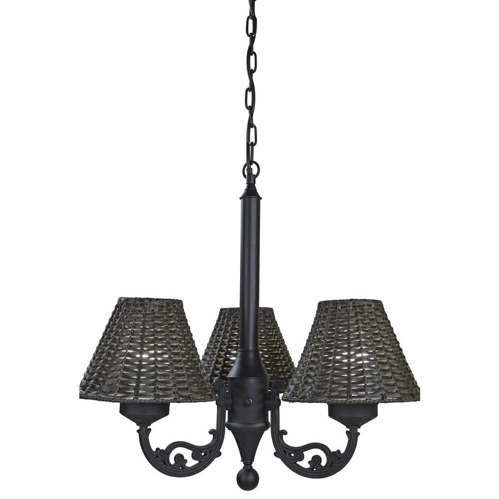 Patio living concepts 25 in black body versailles chandelier with black body versailles chandelier with walnut wicker shade mozeypictures