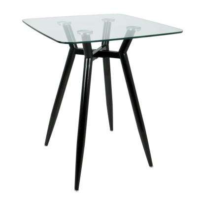 Clara Black Metal and Clear Glass Square Counter Height Dining Table