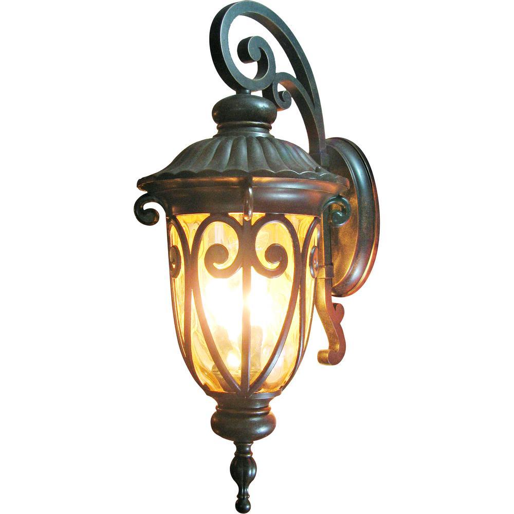Yosemite Home Decor Viviana Collection 3 Light Oil Rubbed Bronze Outdoor Wall Lantern Sconce 519ldiorb The Home Depot