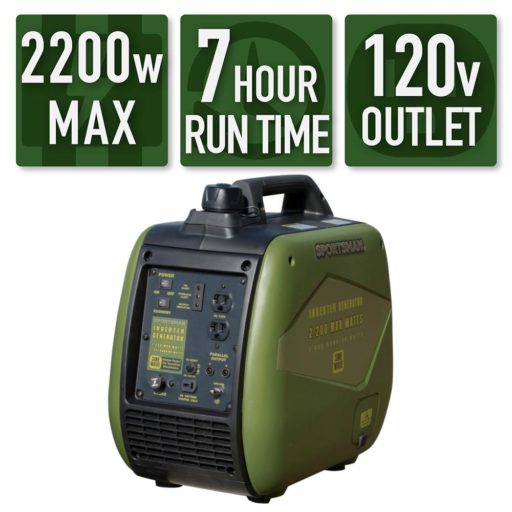 Sportsman 2,200/1,800-Watt Gasoline Powered Recoil Start Portable Digital Inverter Generator with Parallel Capability was $639.0 now $299.0 (53.0% off)
