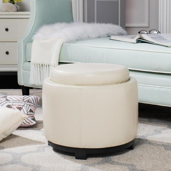 Safavieh Murray Off White Storage Ottoman Hud4045d The Home Depot