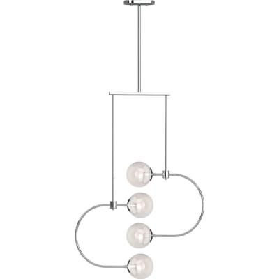 Lawrence 4-Light Chrome Indoor Chandelier with Clear Glass Round Sphere Globe Orb Shades