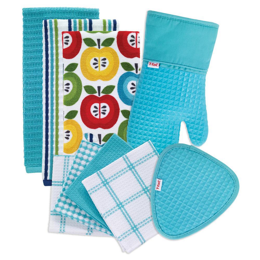 T-Fal Breeze Cotton Apples Print and Solids Kitchen Textile Set (Set of 9)
