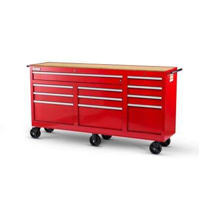 Workshop Series 73 in. 11-Drawer Cabinet with Wood Top, Red