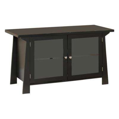 Black Wood Glass Door Entertainment Center