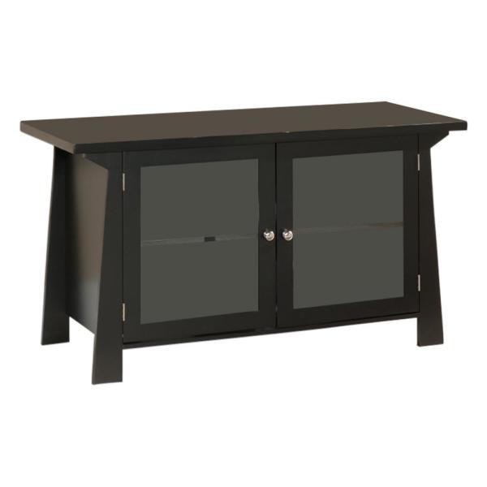 Kings Brand Furniture Black Wood Glass Door Entertainment Center 110E
