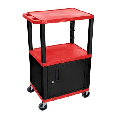 WT 42 in. H A/V Cart With Black Cabinet, Red Shelves