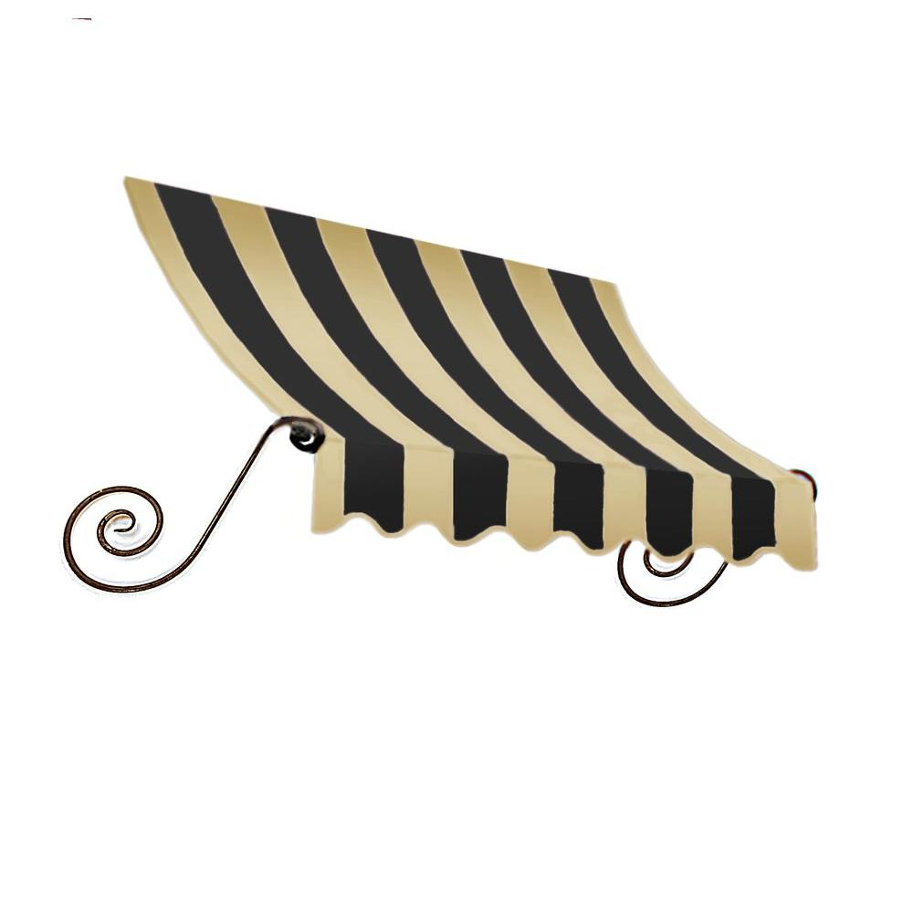 AWNTECH 5 ft. Charleston Window Awning (56 in. H x 36 in. D) in Black/Tan Stripe