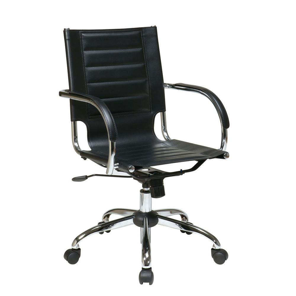 Ave Six Trinidad Black Vinyl Office Chair