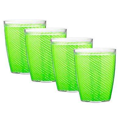 Fishnet 14 oz. Lime Green Insulated Drinkware (Set of 4)