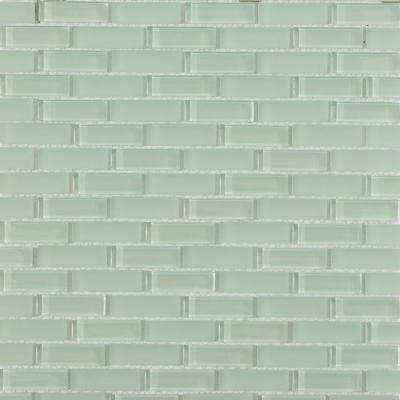 Contempo Seafoam Brick 12 in. x 12 in. x 8 mm Glass Floor and Wall Tile