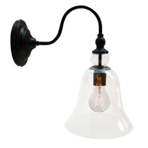Edison Mildred Collection 1-Light Black Clear Glass Indoor Wall Lamp by