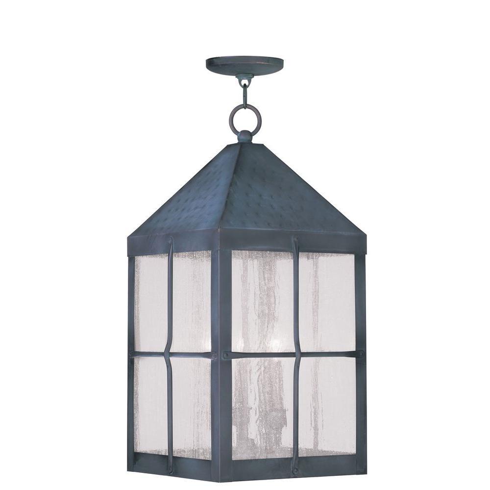 Livex Lighting Providence 4-Light Hanging Outdoor Hammered Charcoal Incandescent Lantern