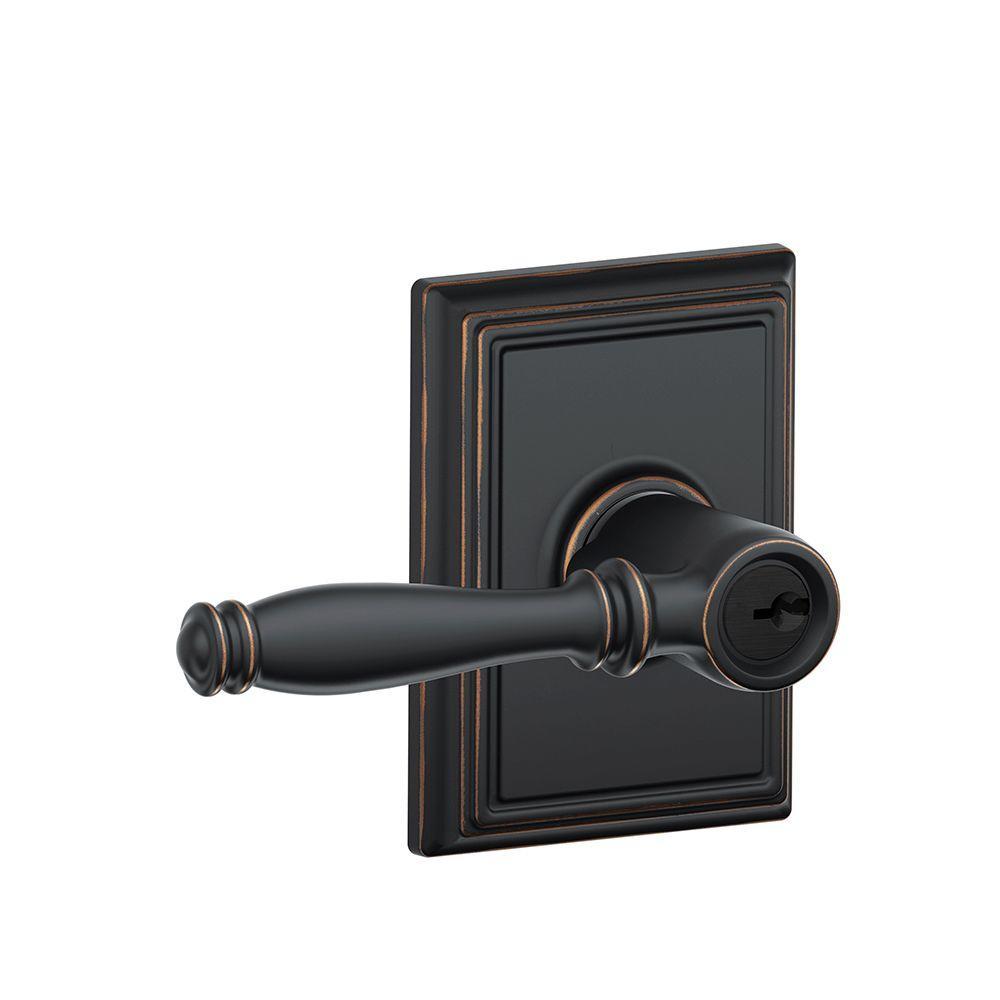 Birmingham Aged Bronze Keyed Entry Door Lever with Addison Trim