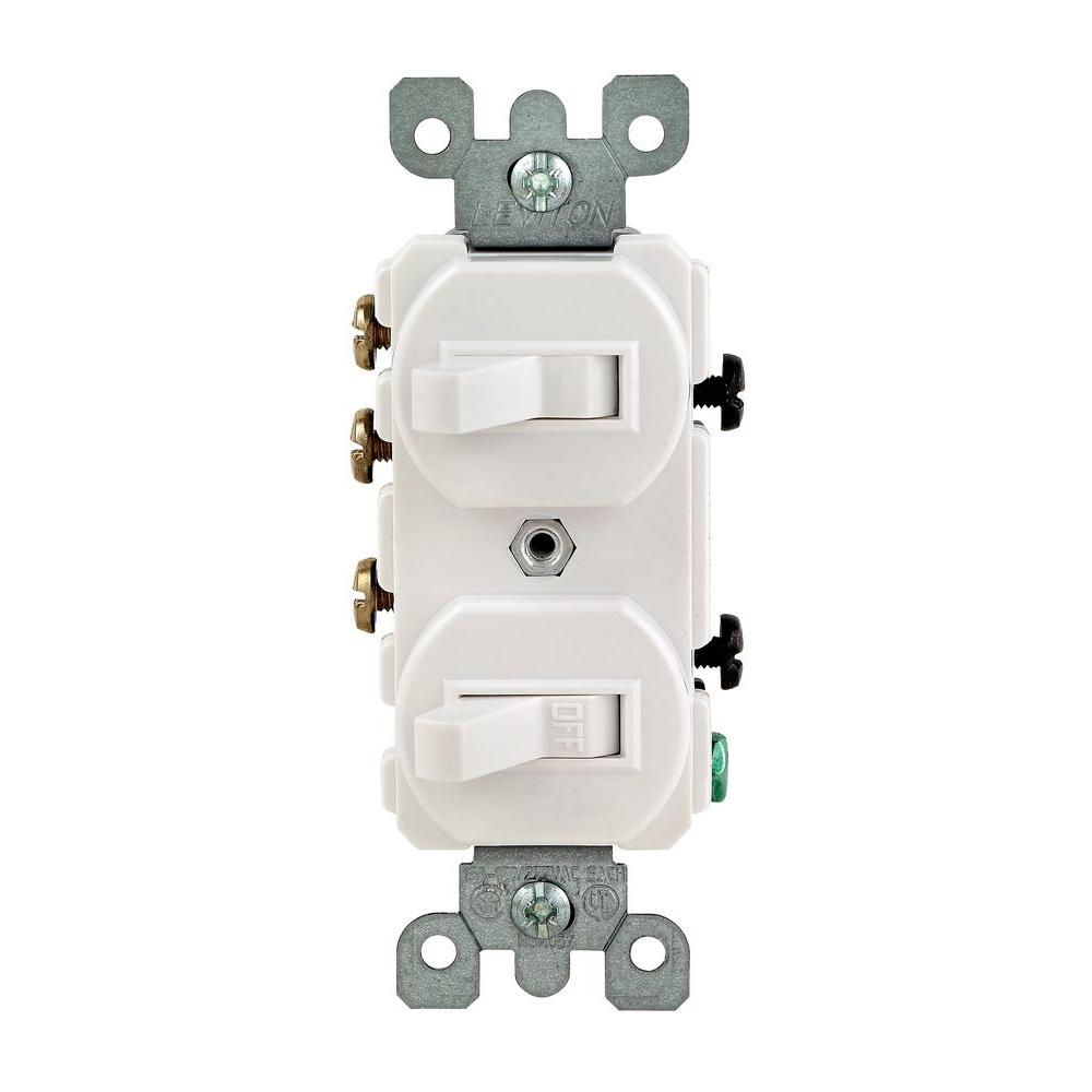 Leviton 15 Amp 3Way Double Toggle Switch WhiteR62052410WS The