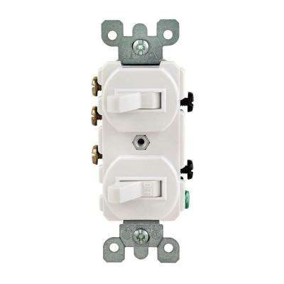 15 Amp 3-Way Double Toggle Switch, White