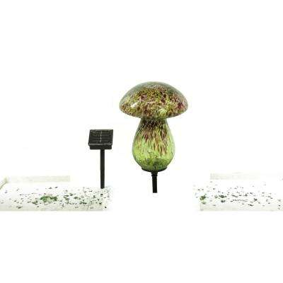 Solar Glass Mushroom with 10 LED Lights