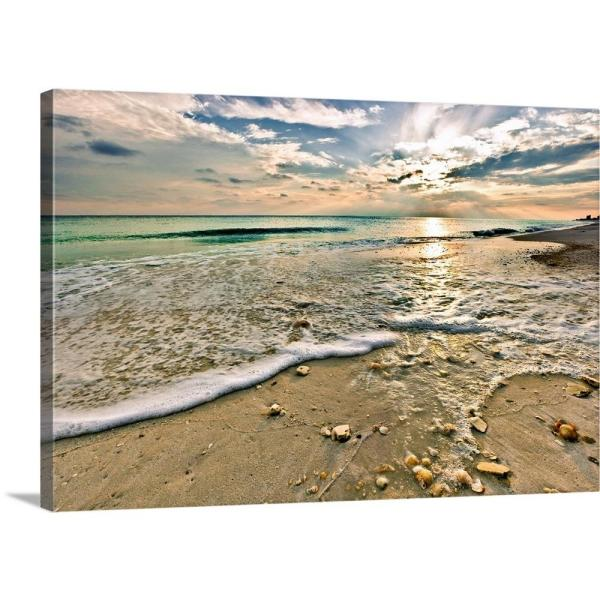 Greatbigcanvas Quot Shell Covered Beach Sunset Landscape Quot By