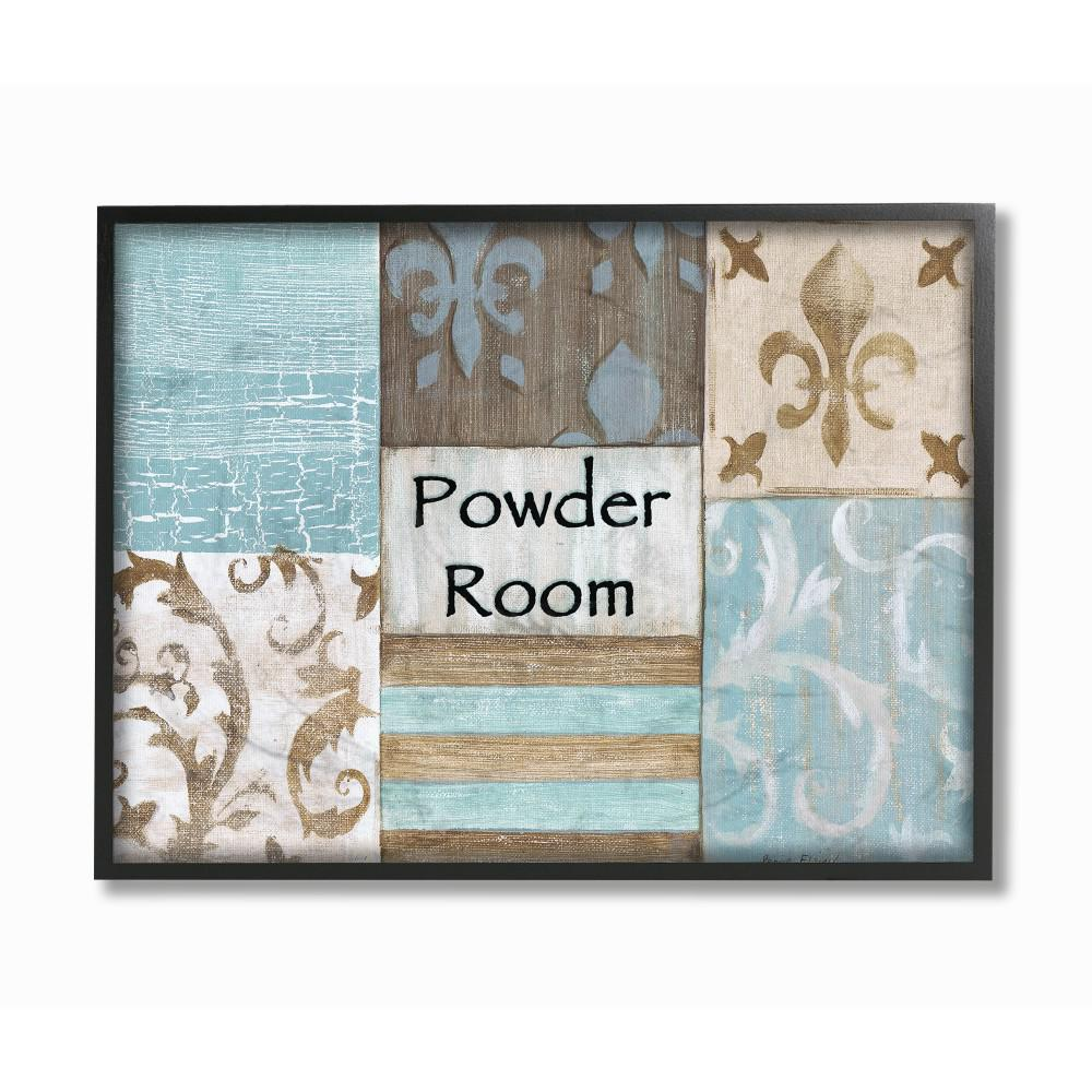 11 In X 14 In Fleur De Lis Powder Room Blue Brown And Beige Bathroom By Bonnie Wrublesky Wood Framed Wall Art