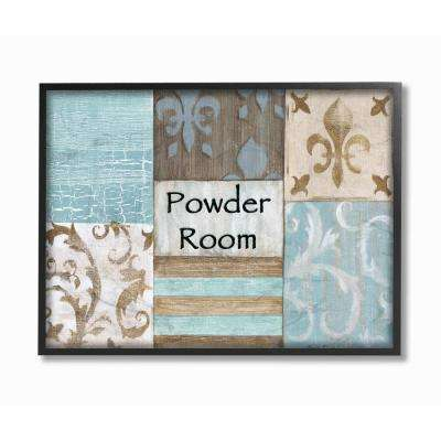 "11 in. x 14 in. ""Fleur de Lis Powder Room Blue, Brown and Beige Bathroom"" by Bonnie Wrublesky Wood Framed Wall Art"