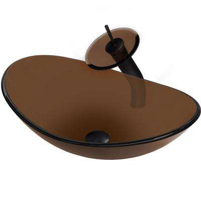 Slipper Glass Vessel Sink in Brown with Faucet in Oil Rubbed Bronze
