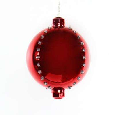 7 in. Red Xmas Ball Ornament with 76 Chasing LED Lights