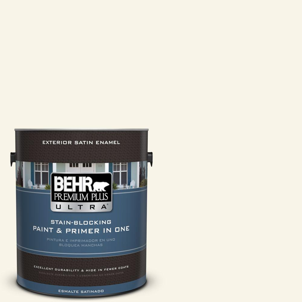 BEHR Premium Plus Ultra 1-gal. #PWN-11 Calla Lily Satin Enamel Exterior Paint