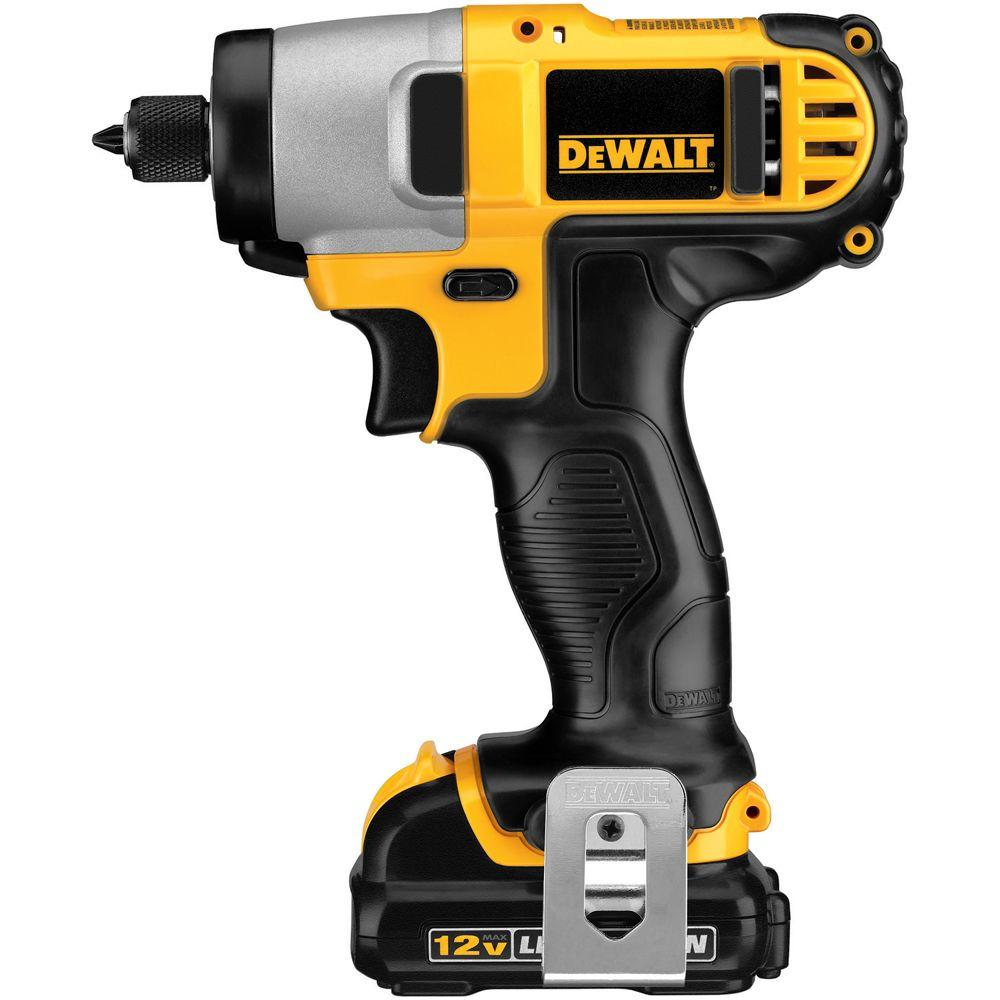 DeWalt DEWALT 12-Volt MAX Lithium-Ion Cordless 1/4 in. Impact Driver Kit with (2) Batteries 1.5Ah, Charger and Contractor Bag