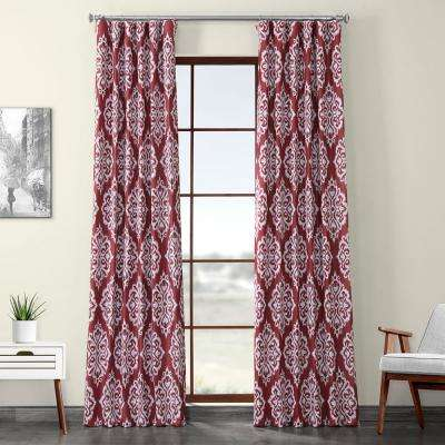 Cameo Red Printed Linen Textured Blackout Curtain - 50 in. W x 108 in. L (1-Panel)