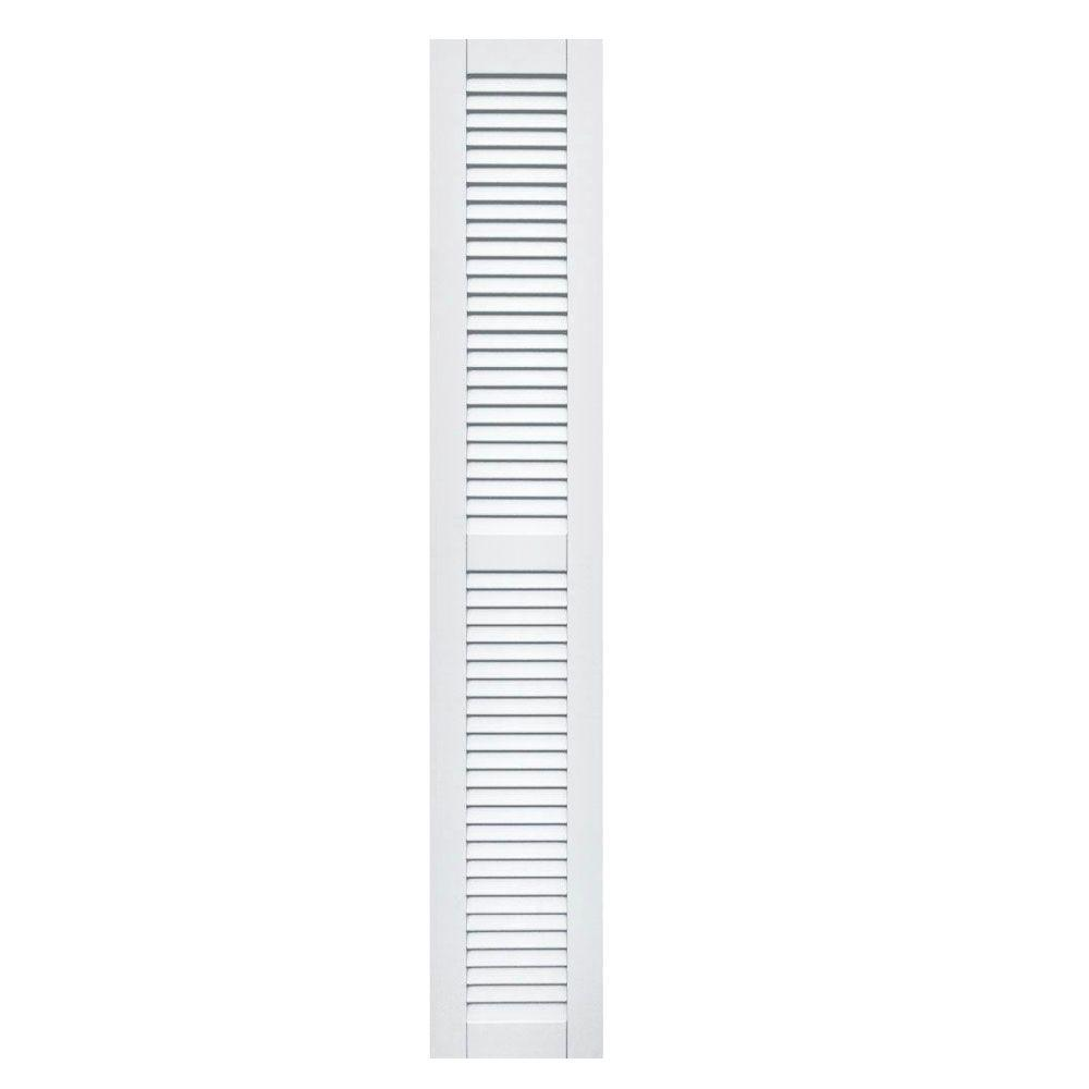 Winworks Wood Composite 12 in. x 71 in. Louvered Shutters Pair #631 White