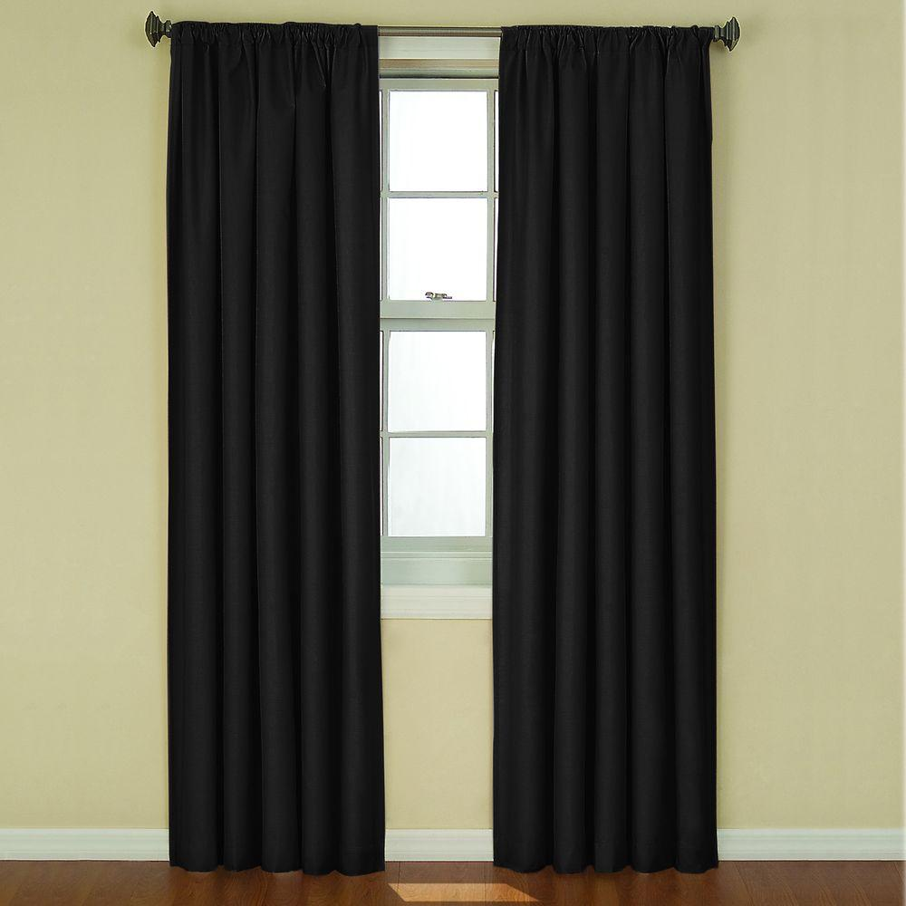 Kendall Blackout Black Curtain Panel, 84 in. Length