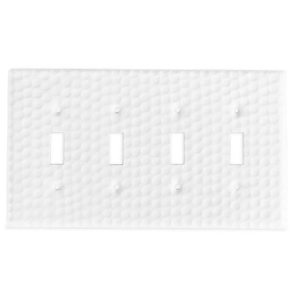 White 4-Gang 4-Toggle Wall Plate (1-Pack)