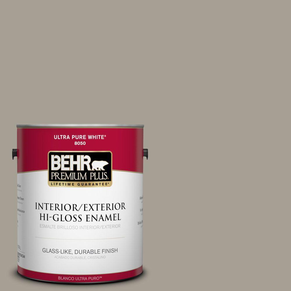 BEHR Premium Plus 1-gal. #T12-12 Jackal Hi-Gloss Enamel Interior/Exterior Paint