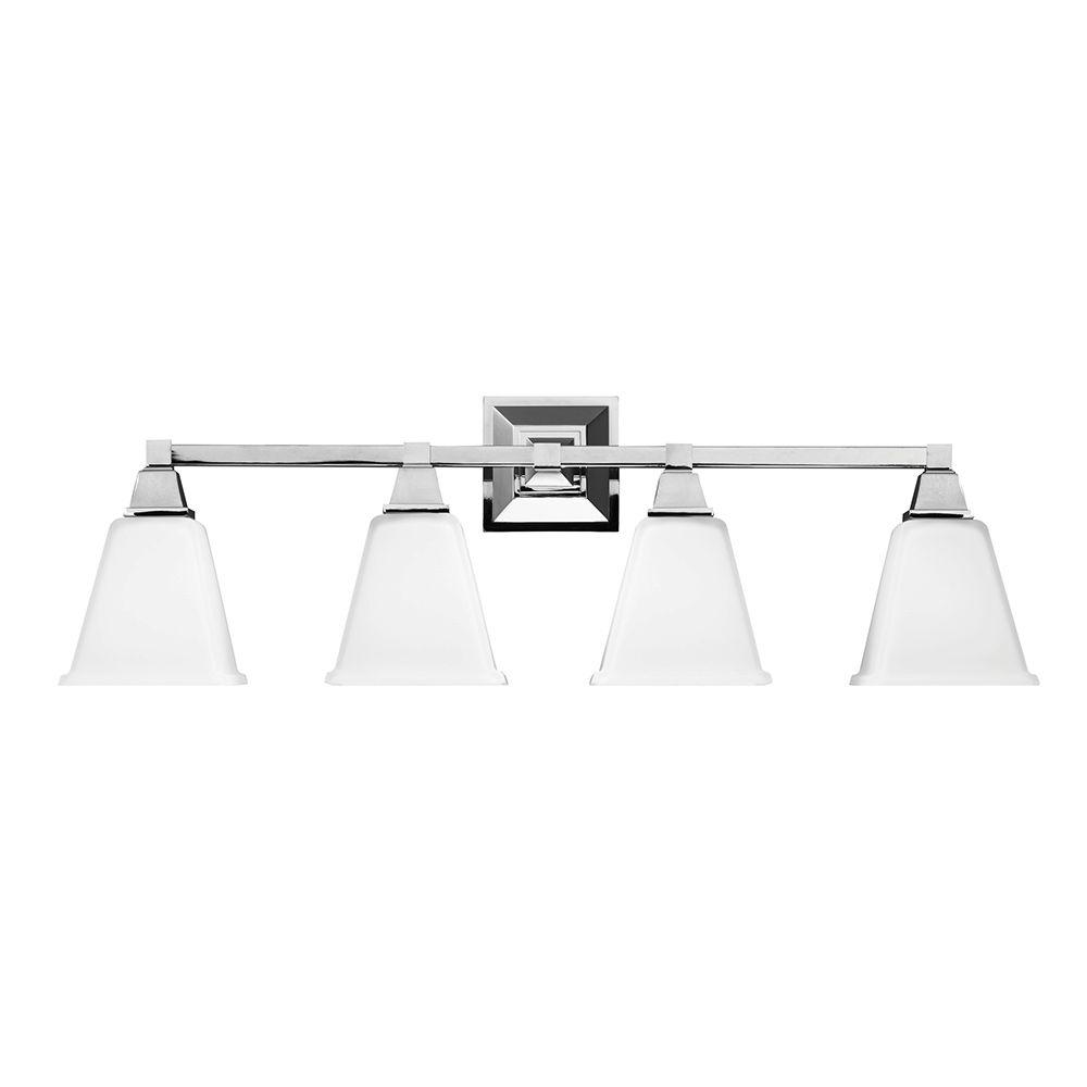 Sea Gull Lighting Denhelm 4-Light Chrome Wall/Bath Vanity Light with Inside White Painted Etched Glass
