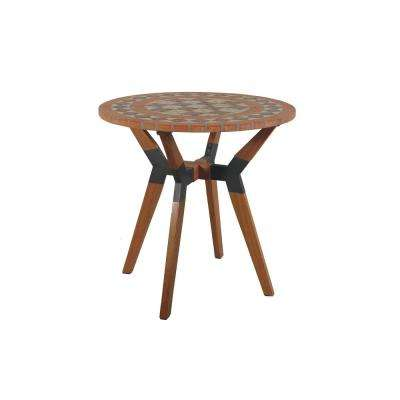 Round 30 in. Terra Cotta Eucalyptus and Metal Outdoor Bistro Table