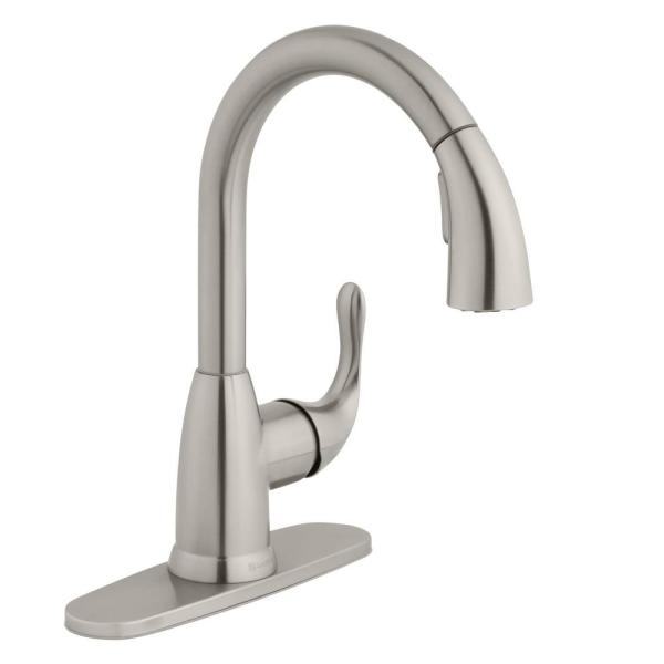Dylan Single-Handle Pull-Down Kitchen Faucet with TurboSpray and FastMount in Stainless Steel
