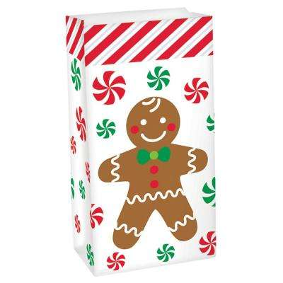 10 in. x 5.25 in. x 3 in. Christmas Gingerbread Paper Favor Bag (34-Pack)