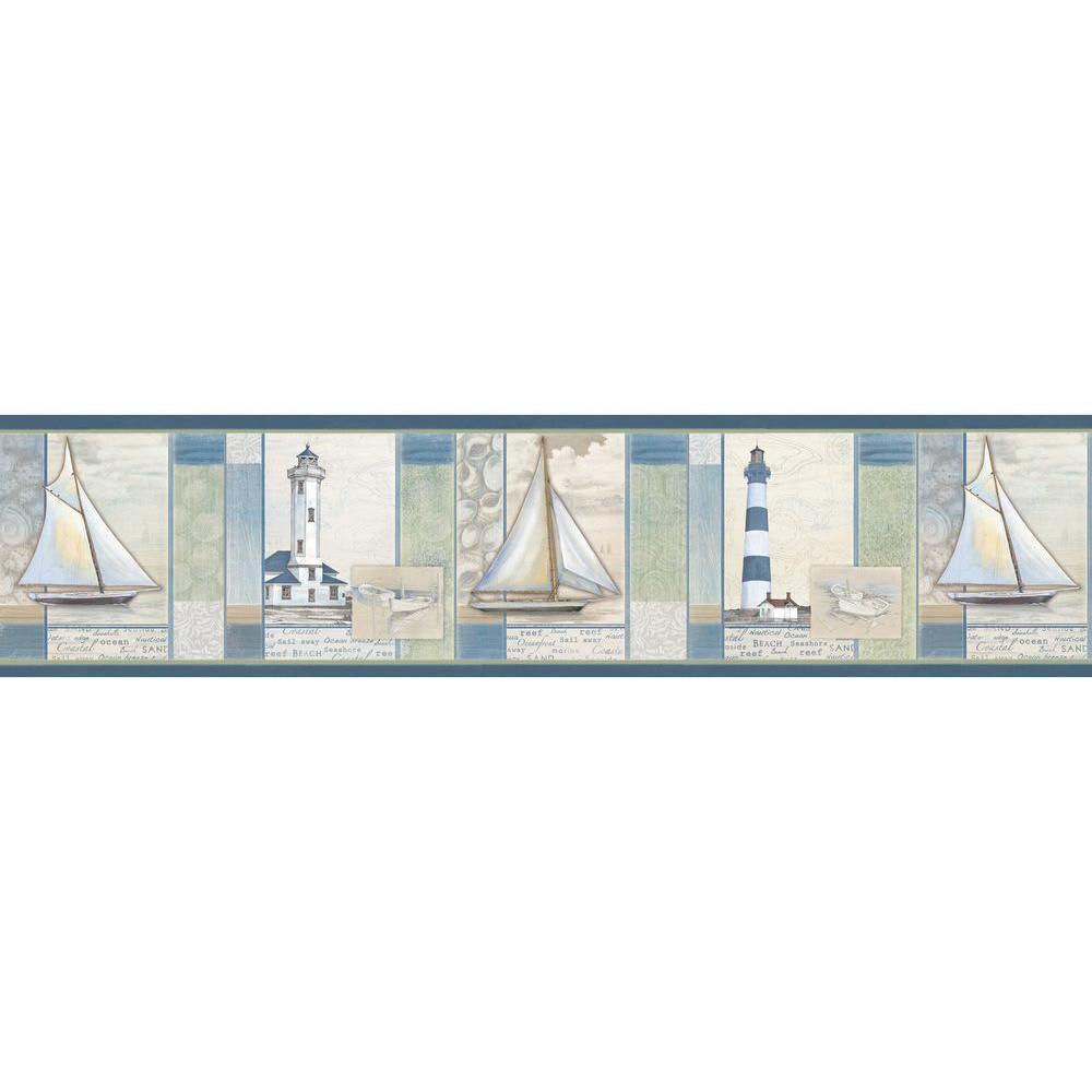 Mashpee White Crossing Wallpaper Border