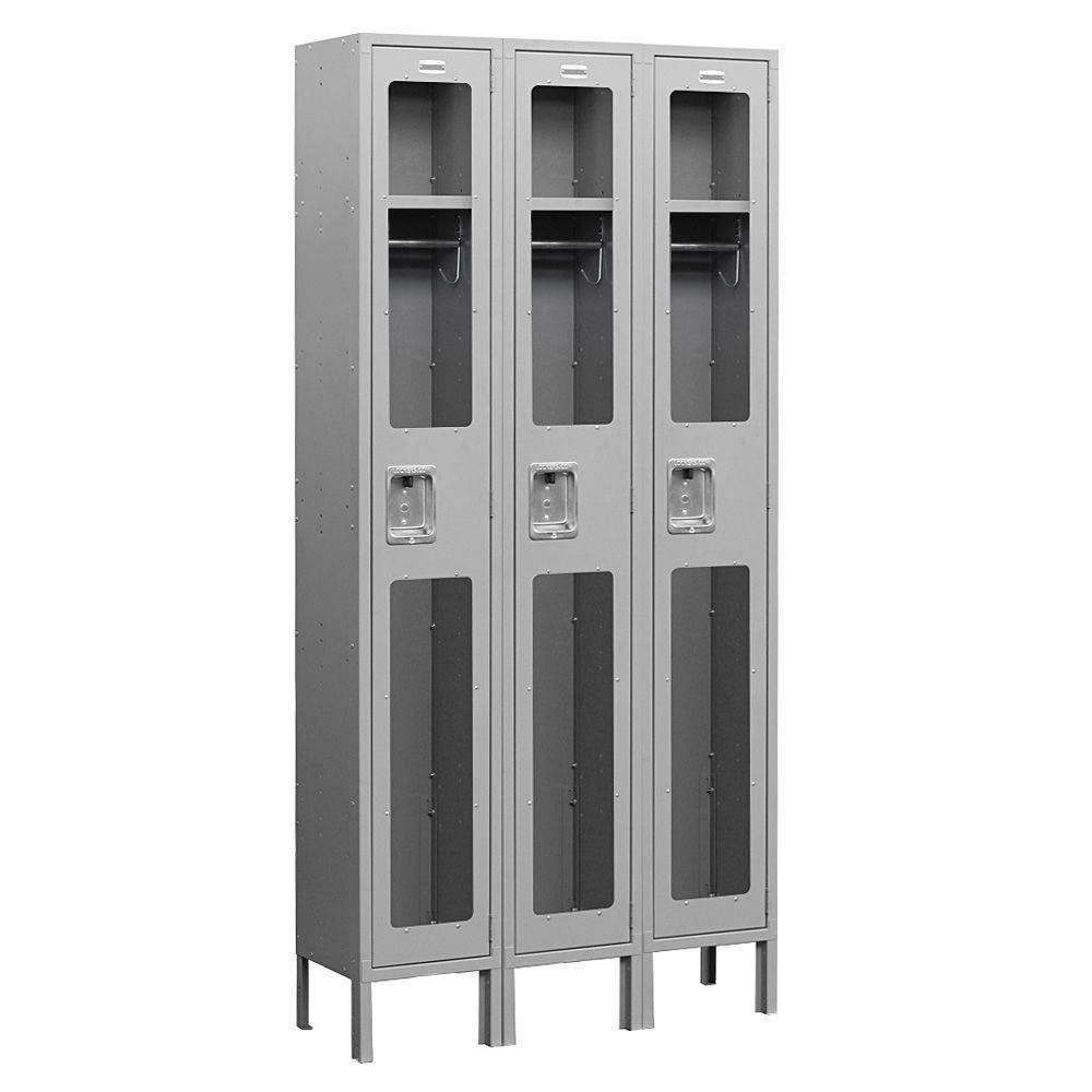 Salsbury Industries S-61000 Series 36 in. W x 78 in. H x 18 in. D Single Tier See-Through Metal Locker Unassembled in Gray