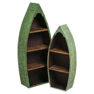 Distressed Metal and Wood Boat Shelves (Set of 2)