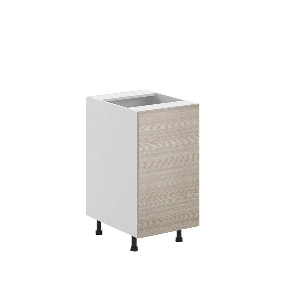 Eurostyle Ready to Assemble 18x34.5x24.5 in. Geneva Full Height Base Cabinet in White Melamine and Door in Silver Pine