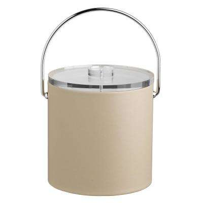 Contempo 3 Qt. Beige Ice Bucket with Bale Handle and Thick Lucite Lid