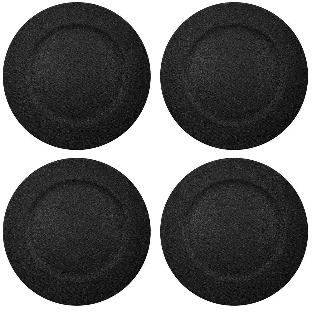 Home Essentials & Beyond 13 in. 4-Piece Twinkle Black Plate Charger Set