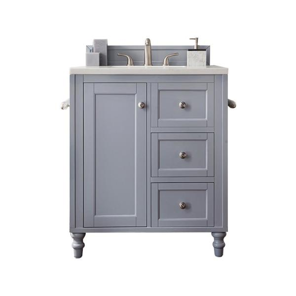 30 in. W Single Bath Vanity in Silver Gray with Solid Surface Vanity Top in Arctic Fall with White Basin